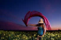 Josee In Canola Field At Sunset